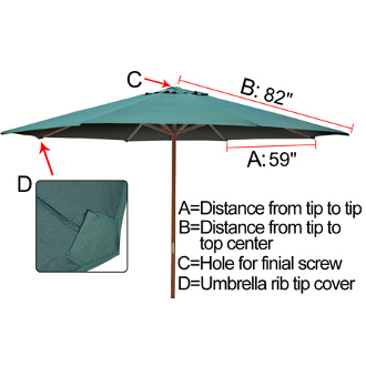 sc 1 st  Our Products & 13 ft Patio Market Umbrella Replacement Canopy Green